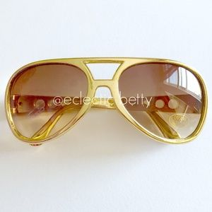"""Grace Land"" Gold Metallic Aviator Sunglasses"